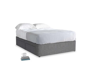 Double Tight Space Storage Bed in Strong grey clever woolly fabric
