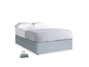 Double Tight Space Storage Bed in Frost clever woolly fabric