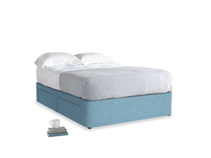 Double Tight Space Storage Bed in Moroccan blue clever woolly fabric