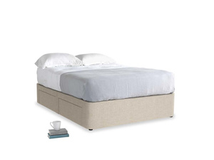 Double Tight Space Storage Bed in Flagstone clever woolly fabric