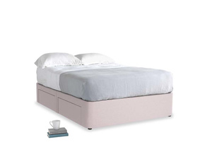 Double Tight Space Storage Bed in Dusky blossom washed cotton linen