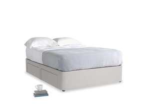 Double Tight Space Storage Bed in Lunar Grey washed cotton linen
