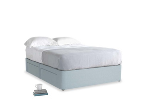 Double Tight Space Storage Bed in Soothing blue washed cotton linen
