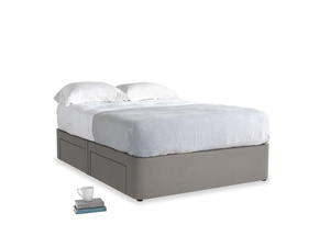 Double Tight Space Storage Bed in Monsoon grey clever cotton