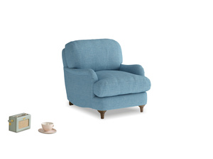 Jonesy Armchair in Moroccan blue clever woolly fabric