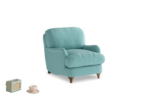 Jonesy Armchair in Kingfisher clever cotton