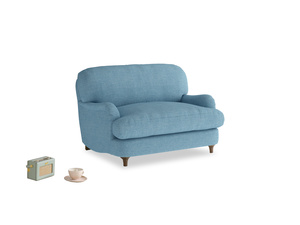 Jonesy Love seat in Moroccan blue clever woolly fabric