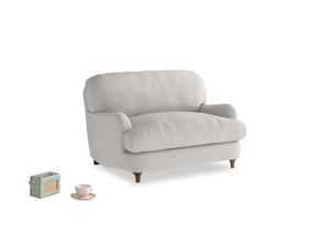 Jonesy Love seat in Lunar Grey washed cotton linen