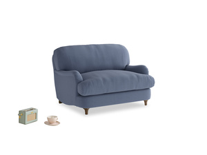 Jonesy Love seat in Breton blue clever cotton