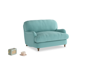 Jonesy Love seat in Kingfisher clever cotton