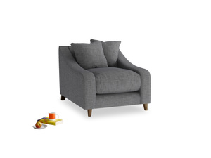 Oscar Armchair in Strong grey clever woolly fabric