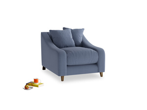 Oscar Armchair in Breton blue clever cotton