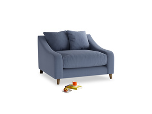 Oscar Love seat in Breton blue clever cotton