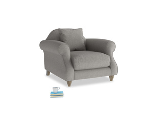 Sloucher Armchair in Marl grey clever woolly fabric
