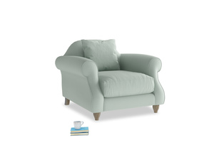 Sloucher Armchair in Sea surf clever cotton