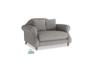 Sloucher Love seat in Marl grey clever woolly fabric