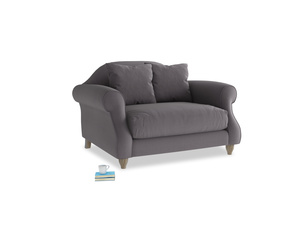 Sloucher Love seat in Graphite grey clever cotton