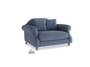 Sloucher Love seat in Breton blue clever cotton