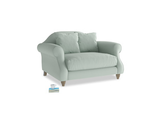 Sloucher Love seat in Sea surf clever cotton