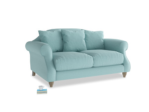Small Sloucher Sofa in Adriatic washed cotton linen
