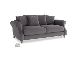 Medium Sloucher Sofa in Graphite grey clever cotton