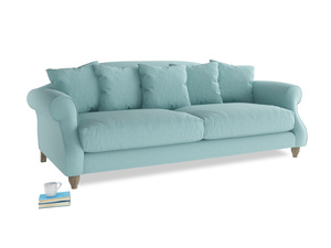 Large Sloucher Sofa in Adriatic washed cotton linen