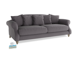 Large Sloucher Sofa in Graphite grey clever cotton