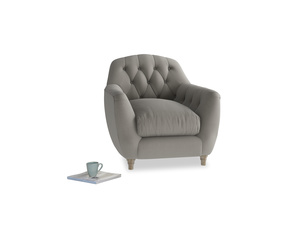 Butterbump Armchair in Monsoon grey clever cotton