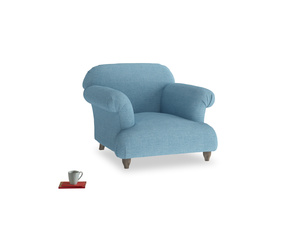 Soufflé Armchair in Moroccan blue clever woolly fabric