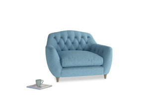 Love Seat Butterbump Love Seat in Moroccan blue clever woolly fabric