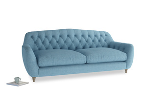Large Butterbump Sofa in Moroccan blue clever woolly fabric