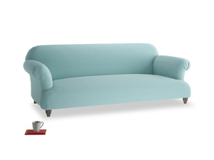 Large Soufflé Sofa in Adriatic washed cotton linen