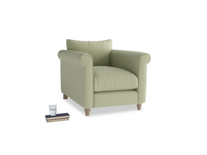 Weekender Armchair in Old sage washed cotton linen