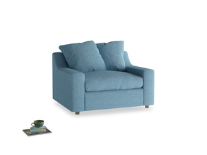 Cloud Love seat in Moroccan blue clever woolly fabric