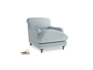 Pudding Armchair in Scandi blue clever cotton