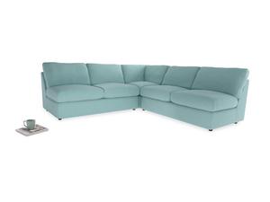 Even Sided  Chatnap modular corner storage sofa in Adriatic washed cotton linen
