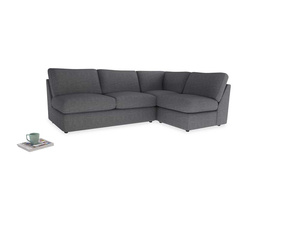 Large right hand Chatnap modular corner storage sofa in Strong grey clever woolly fabric