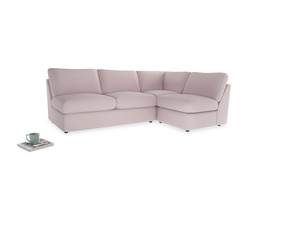 Large right hand Chatnap modular corner storage sofa in Dusky blossom washed cotton linen