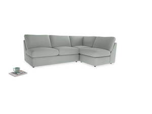 Large right hand Chatnap modular corner storage sofa in Eggshell grey clever cotton