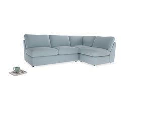 Large right hand Chatnap modular corner sofa bed in Soothing blue washed cotton linen