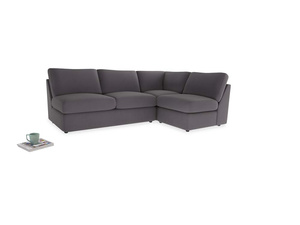 Large right hand Chatnap modular corner sofa bed in Graphite grey clever cotton