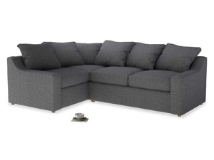Large Left Hand Cloud Corner Sofa in Strong grey clever woolly fabric