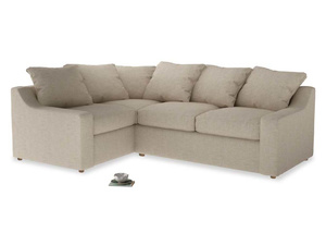 Large Left Hand Cloud Corner Sofa in Flagstone clever woolly fabric