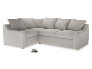 Large Left Hand Cloud Corner Sofa in Moondust grey clever cotton