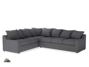Xl Left Hand Cloud Corner Sofa in Strong grey clever woolly fabric