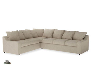 Xl Left Hand Cloud Corner Sofa in Flagstone clever woolly fabric