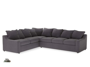 Xl Left Hand Cloud Corner Sofa in Graphite grey clever cotton