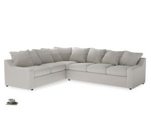 Xl Left Hand Cloud Corner Sofa in Moondust grey clever cotton