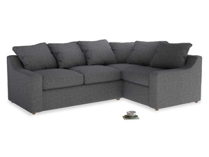 Large Right Hand Cloud Corner Sofa in Strong grey clever woolly fabric