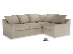 Large Right Hand Cloud Corner Sofa in Flagstone clever woolly fabric